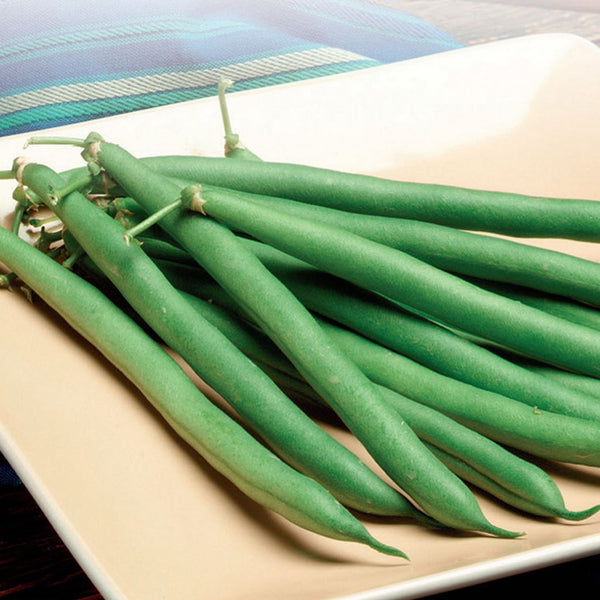 Handful of green beans on a wooden table