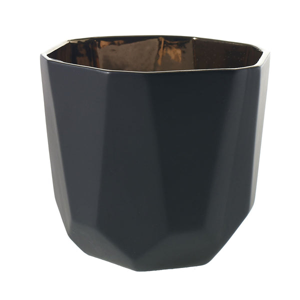 Geometric black ceramic pot with a copper gold interior in size large.