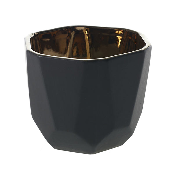 Geometric black ceramic pot with a copper gold interior in size medium.
