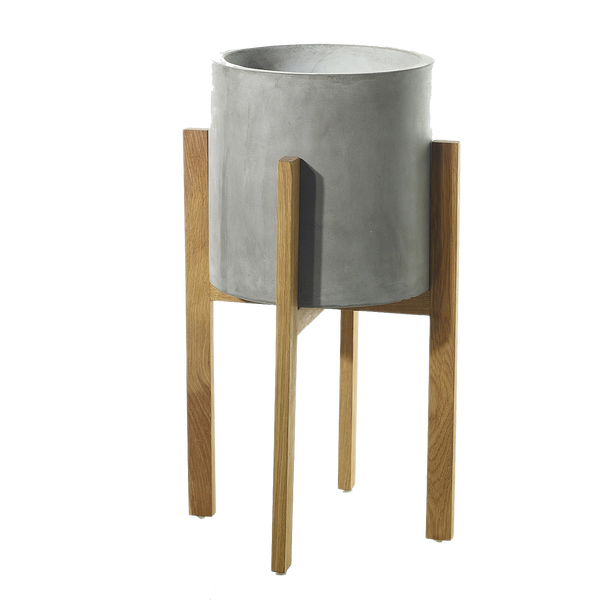 Grey concrete containers with wooden legs in size medium.