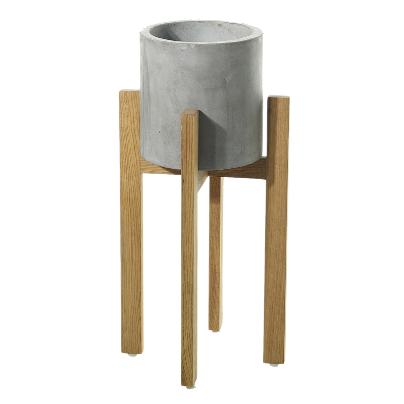Grey concrete containers with wooden legs in size small.