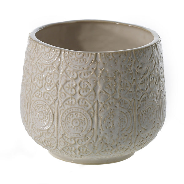 Ceramic pot crafted from clay with textured detailing and a white glaze in size medium.