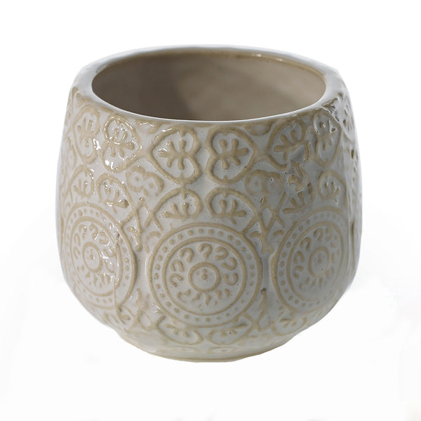 Ceramic pot crafted from clay with textured detailing and a white glaze in size small.