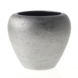 A beautifully detailed ceramic pot complete with a platinum metallic finish with light textured finish.