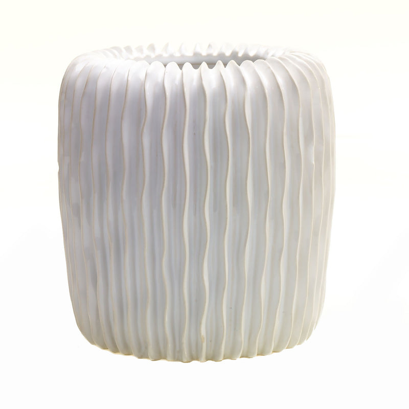 Tall white textured pot with vertical wavy ridges in size medium.