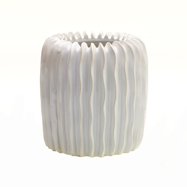 Tall white textured pot with vertical wavy ridges in size small.