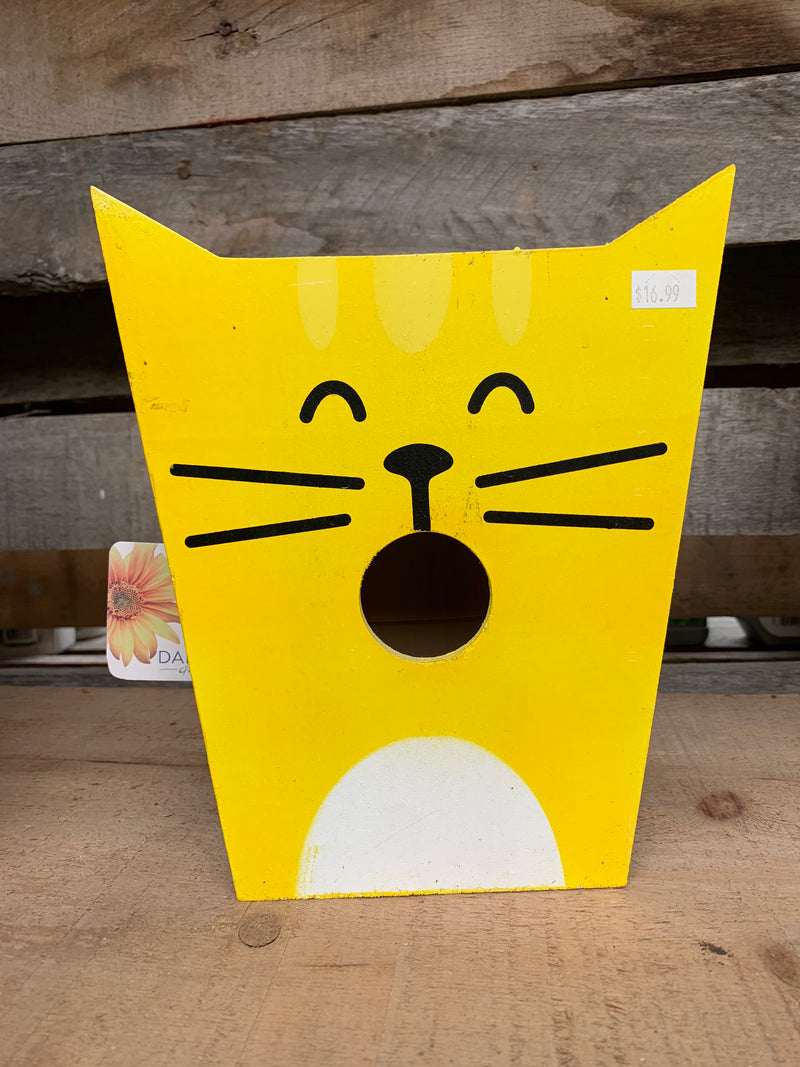 Yellow Cat Bird House