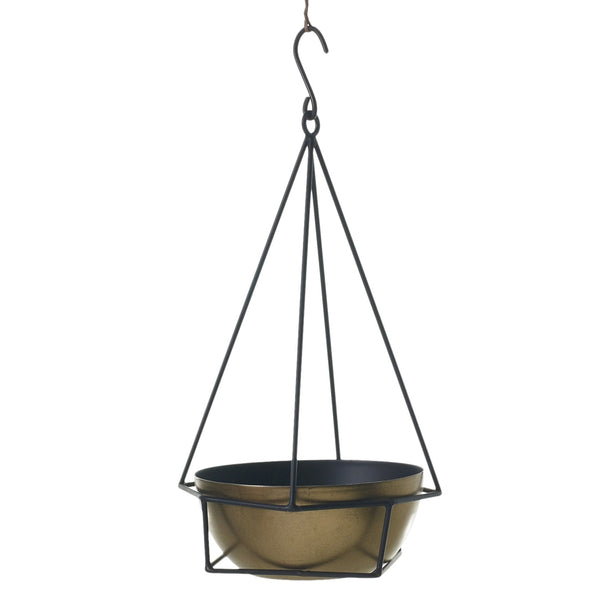 A hanging planter with black metal, geometric black frame and brushed gold bowl nestled within. In size small.