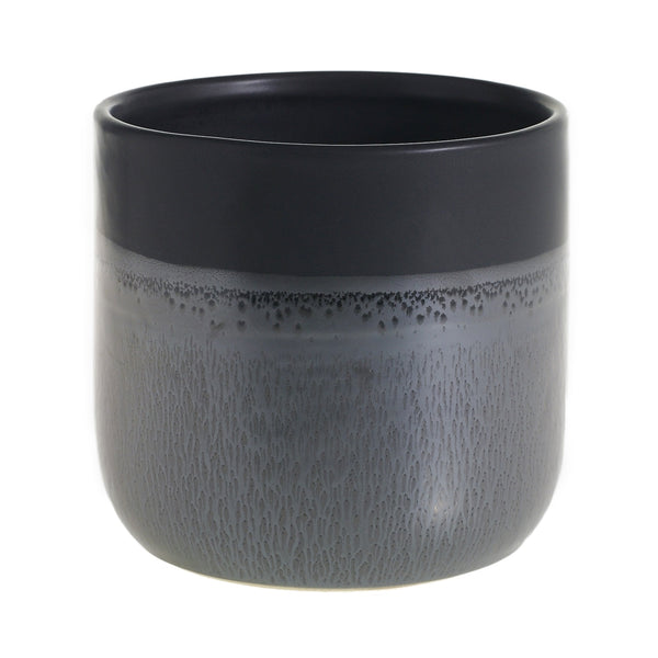 A matte black pot  with graphite grey glaze on the bottom. In size medium.