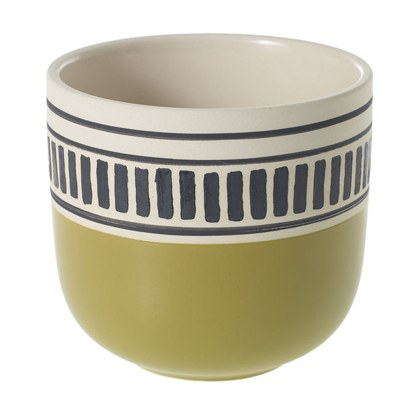 Chartreuse, beige and black coloured pot with hand-applied two-tone design trim