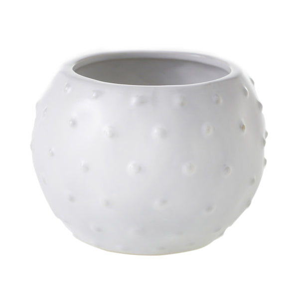Small white ceramic pot with cactus-like texture.