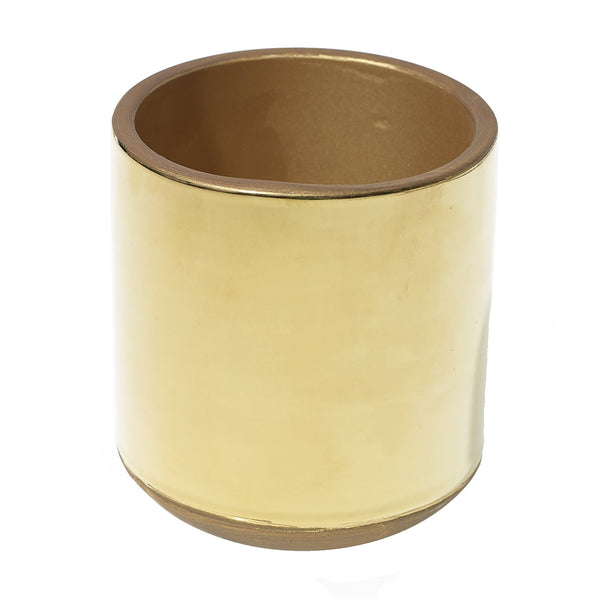 Gold metallic plated ceramic cachepot planters in size small.
