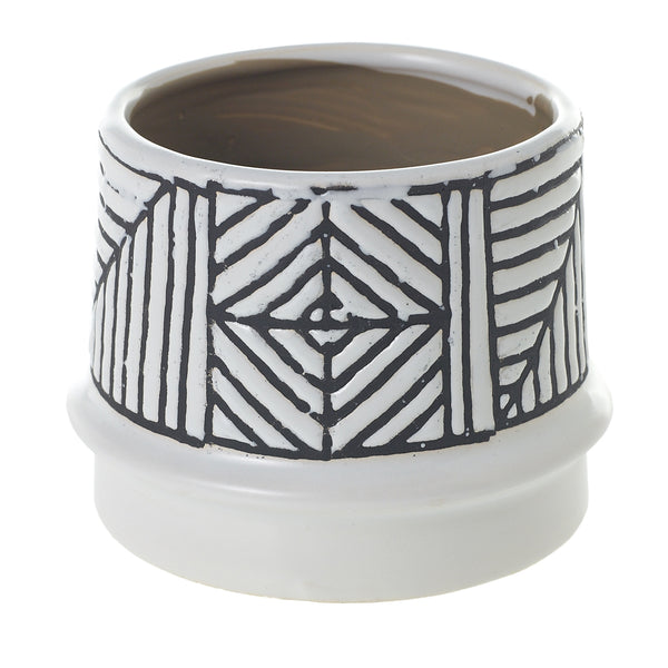 white ceramic pot which features a black tribal pattern on the top in size medium.
