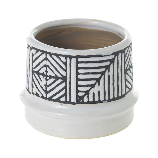 white ceramic pot which features a black tribal pattern on the top in size small.