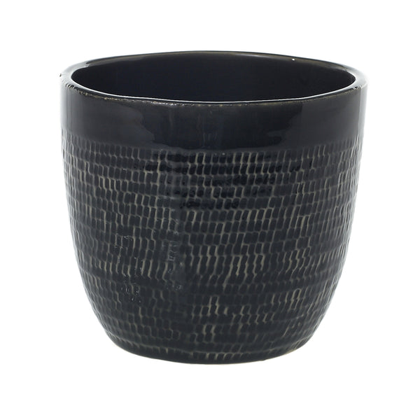 Black and beige textured pot.