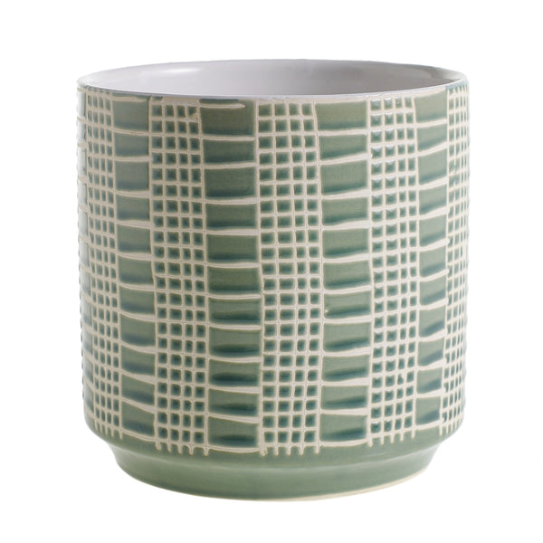 The Eddie pot is a ceramic container in a beautiful sage finish in size medium.