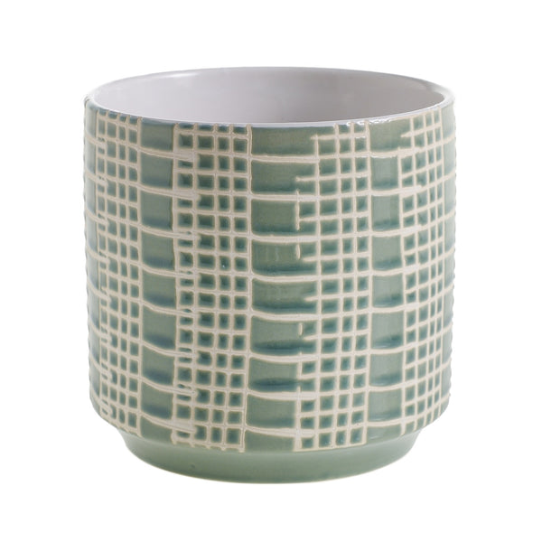 The Eddie pot is a ceramic container in a beautiful sage finish in size small.