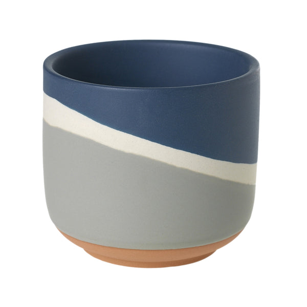 Navy blue, white and soft grey ceramic multi-glaze planter with a hi-low pattern.