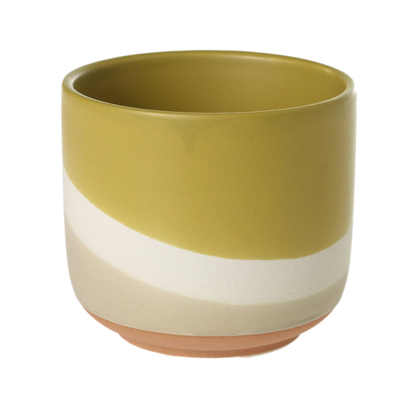 Marigold yellow, white and soft beige ceramic multi-glaze planter with a hi-low pattern.