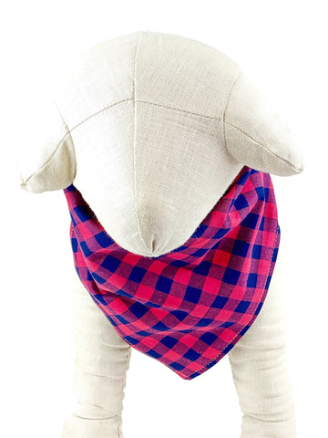 Red/Navy Plaid Dog Bandana - 766