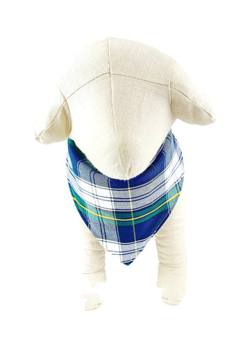Navy/White/Yellow Plaid Dog Bandana - 1074