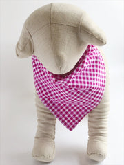 Pink Gingham Dog Bandana - 1001