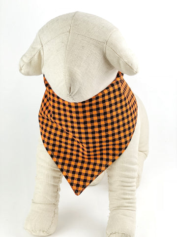 Orange/Black Houndstooth Dog Bandana - 1028