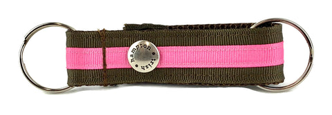 Chocolate/Hot Pink Stripe Snappy Keychain - 302