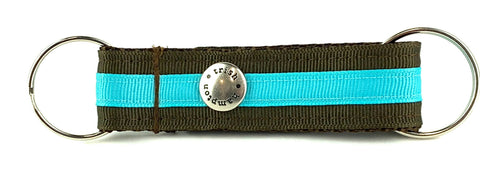 Chocolate/Turquoise Stripe Snappy Keychain - 304