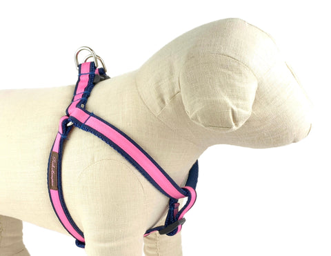 Navy/Hot Pink Stripe Dog Harness - 334