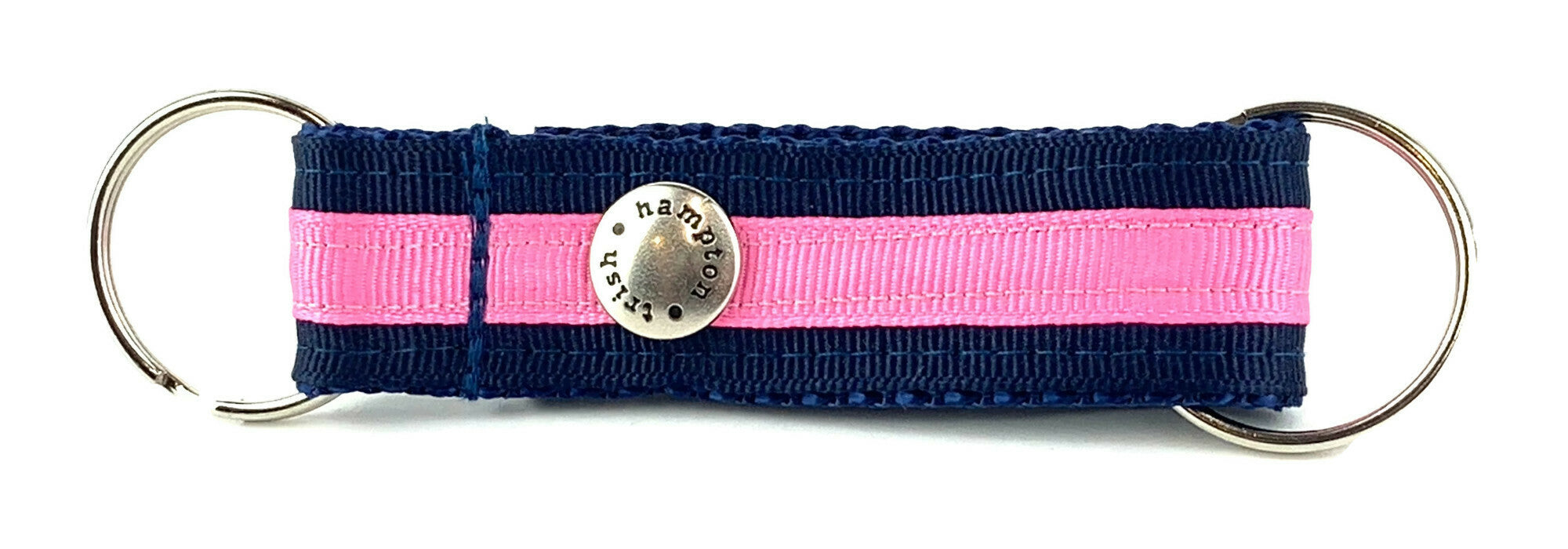 Navy/Hot Pink Stripe Snappy Keychain - 334