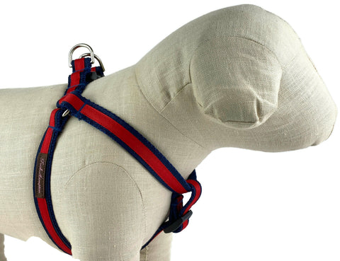 Navy/Red Stripe Dog Harness - 338