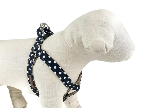 Black/White Polka Dot Dog Harness - 501