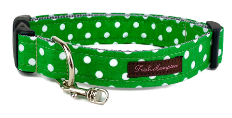 Kelly Green/White Polka Dot Dog Collar - 503