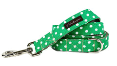 Kelly Green/White Polka Dots Dog Leash - 503