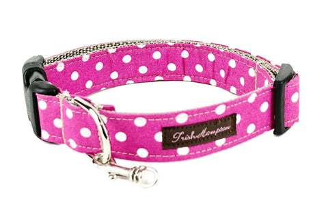 Hot Pink/White Polka Dot Dog Collar - 504