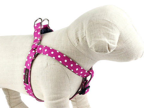 Hot Pink/White Polka Dot Dog Harness - 504