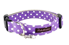 Purple/White Polka Dots   Dog Collar - 507