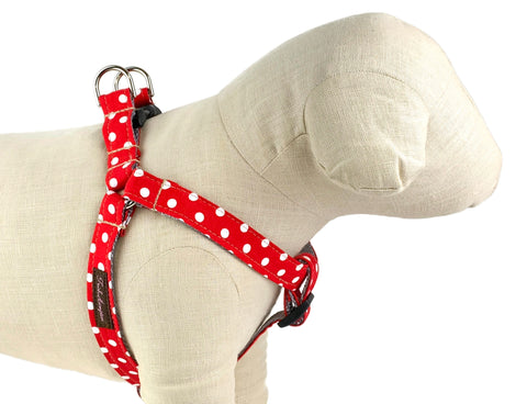Red/White Polka Dot Dog Harness - 508