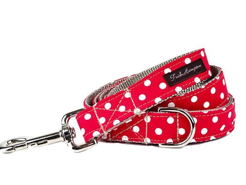 Red/White Polka Dots Dog Leash - 508