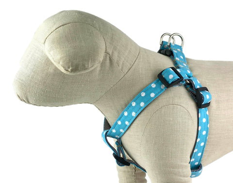 Turquoise/White Polka Dot Dog Harness - 513