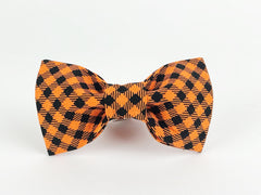 Black/Orange Houndstooth Dog Bow Tie - 999