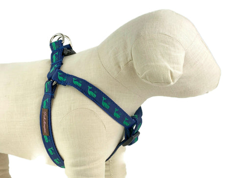 Navy/Green Whales Dog Harness - 750