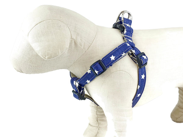 White stars on blue fabric dog harness