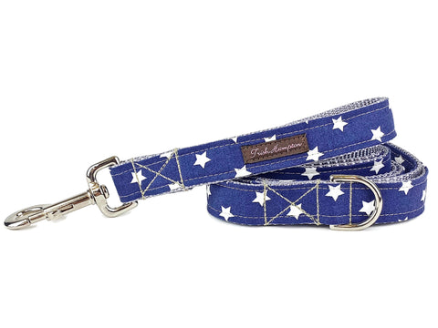 Stars American Dog Lead Leash, blue fabric, white stars