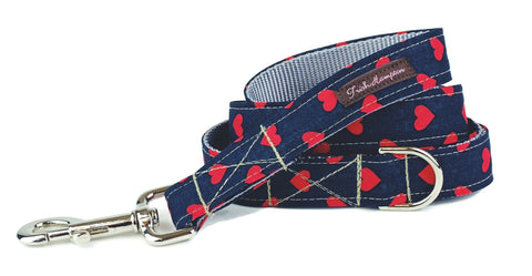 Midnight Red Hearts Dog Leash - 757