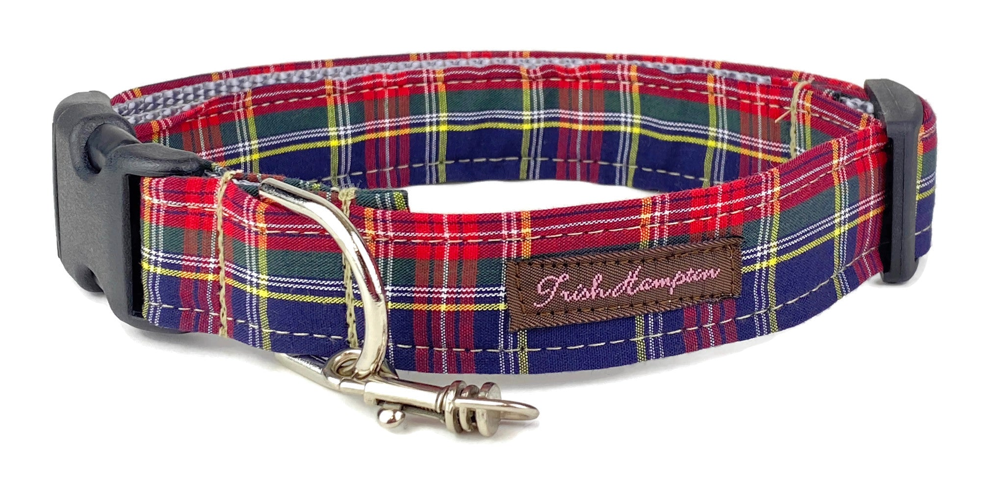 Navy Tartan Plaid Dog Collar - 903