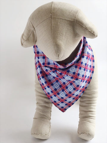 Red/Blue Argyle Plaid Dog Bandana - 1015