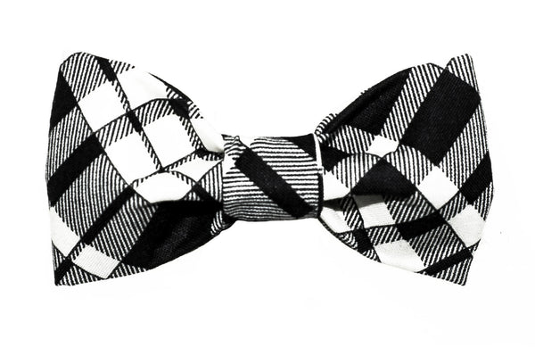 Black/Creme Plaid Dog Bow Tie - 939