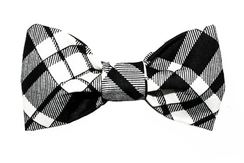 Black/Creme Plaid Dog Bow Tie